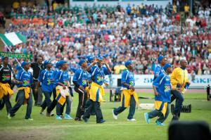 Sydafrika paraderar vid invigningen av Gothia Cup